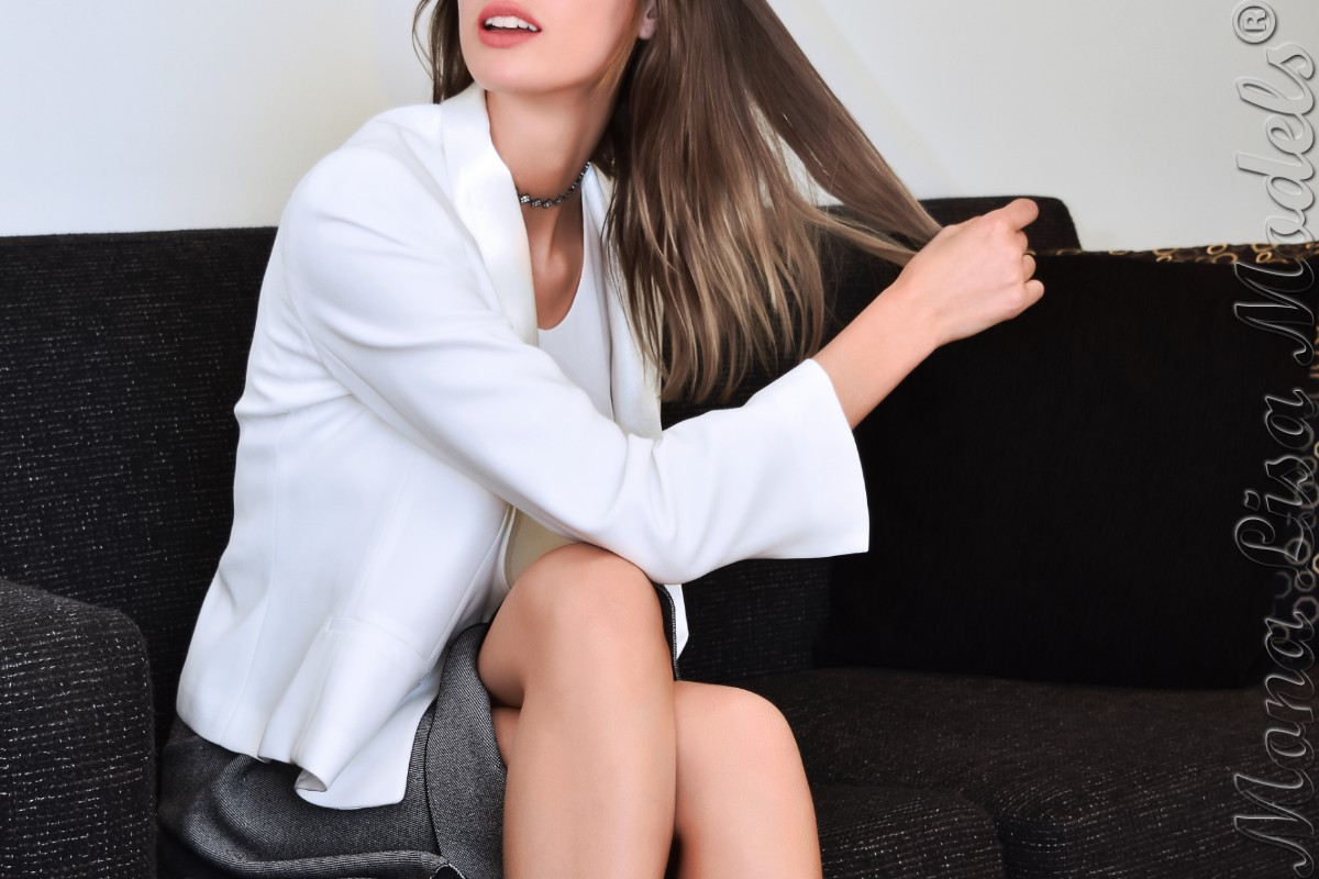 Model playing with her hair