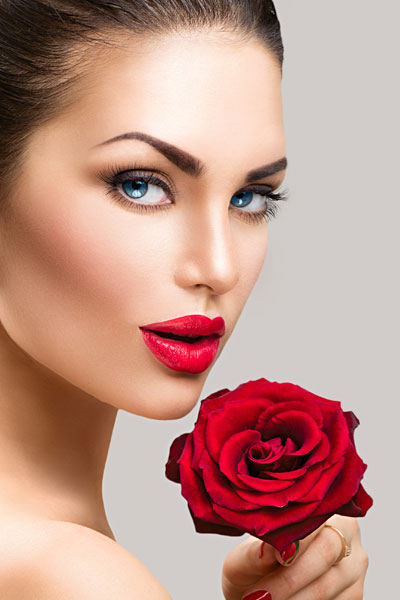 model with the red rose
